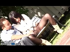 Japanese teen in pantyhose fucked outdoor by ol...