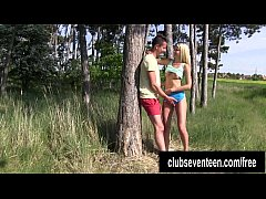 Superb teen suck and fuck cock outdoors