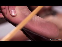 Ebony gets spanked and caned in hogtie