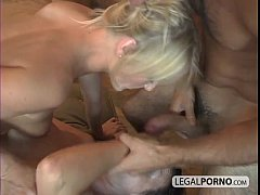 2 horny chicks in an anal foursome with 2 big c...