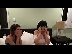 Stepbrother blackmail stepsister and her lesbia...