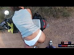 Outdoor blowjob and sex in public with his amat...