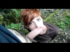 RyAnne Redd - busty redhead gives an outdoor bl...