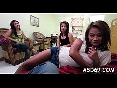 Rear gang bang for an asian girl