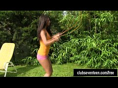 Tanned teen Vivien masturbating outdoors
