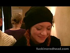 Amateur Russian Redhead babe fucked in public t...