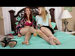 Foot Girl Takes Care of the Bosss Husband with ...