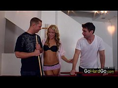 Kara Novak Threesome on the pool table porn