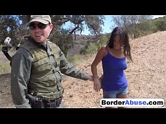 Border Patrol Catches Sexy Civilian Girl And Fu...