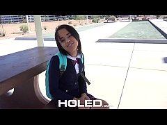HOLED Big dick shoved in petite school girl Hol...
