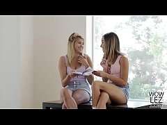 Teen babes having lesbian sex in their tutor's ...