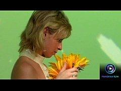 Erotic blonde Dora Venter fucks a crew at the set