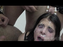Premium Bukkake - Elya swallows 38 huge mouthfu...
