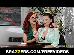 Dominant redhead lesbian convinces her co-worker to experiment