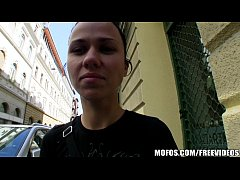 Natural Czech girl is paid cash to take a huge ...
