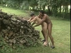 White brunette is outdoor fucked by a black worker