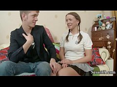 Skinny 18yr old Sister Seduce to First Anal Fuc...