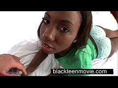 Cute ebony teen with a nice butt in hardcore bl...
