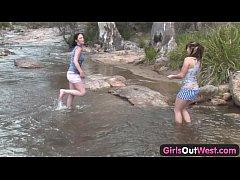 Girls Out West - Aussie lesbian river sex