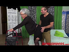 Big ass granny gets dicked from behind by a you...