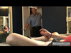 Sexy brunette shemale Jacqueline Woods gets her...