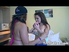 thumb teengonzo tw o teens pleasuring one lucky guy in a hotel room