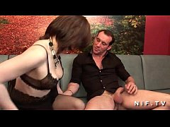 Amateur french brunette in stockings hard doubl...