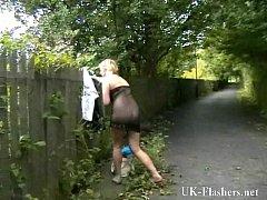 Flashing blonde babe Lenas highway masturbation...