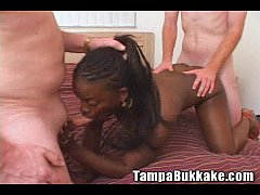Ebony Girl Four Way Bukkake Party