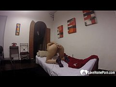 Horny stepsister masturbates on her brother's bed