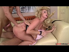 Raunchy blondie Bonnie Rose seduces two studs a...