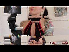 Natasha Grey plays with her sex doll during qua...