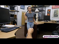 Slutty teen screwed by pervy pawn keeper in his...