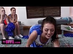 Cheerleaders sharing coaches hard cock