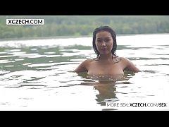 Beautiful asian water nymph making erotic swimm...