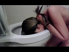 cute girl licking my toilet lustfully