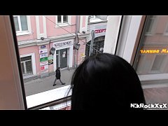 the girl Melissa Rel moans out the window! publ...