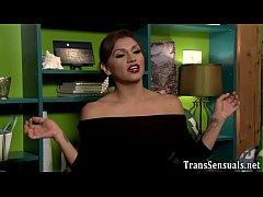Fucked trans babe spunks