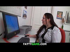 Fat ass brunette office plumper starts a game