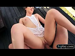 Two hot babes get pussy rammed outdoors
