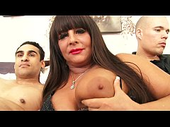 Two young horny boys with an horny milf wih hug...