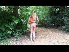 Sexy blonde Debbies outdoor masturbation and fl...