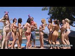 Sexy bikini BBQ party by pool