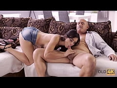 OLD4K. Naughty brunette tempts old man into dri...