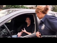 Latina officer caught on a guy jerking off in h...