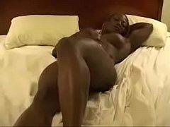 Ebony Bodybuilder Playing On Bed