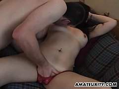 Amateur Asian girlfriend sucks and fucks with h...