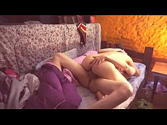 Perfect body couple having sex on a single bed
