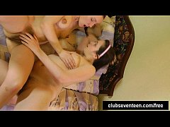 Lesbian teens lick their hairy snatches