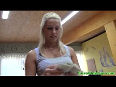 Blonde euro amateur shows body for cash
